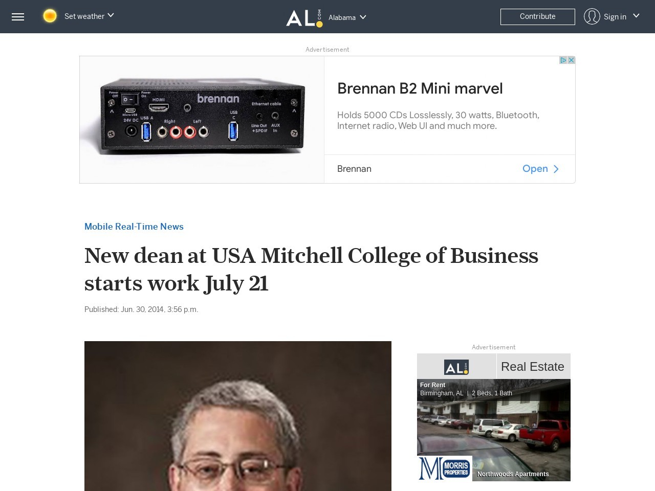 New dean at USA Mitchell College of Business starts work July 21