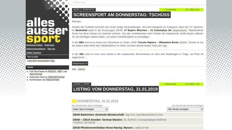 www.allesaussersport.de Vorschau, Allesaussersport
