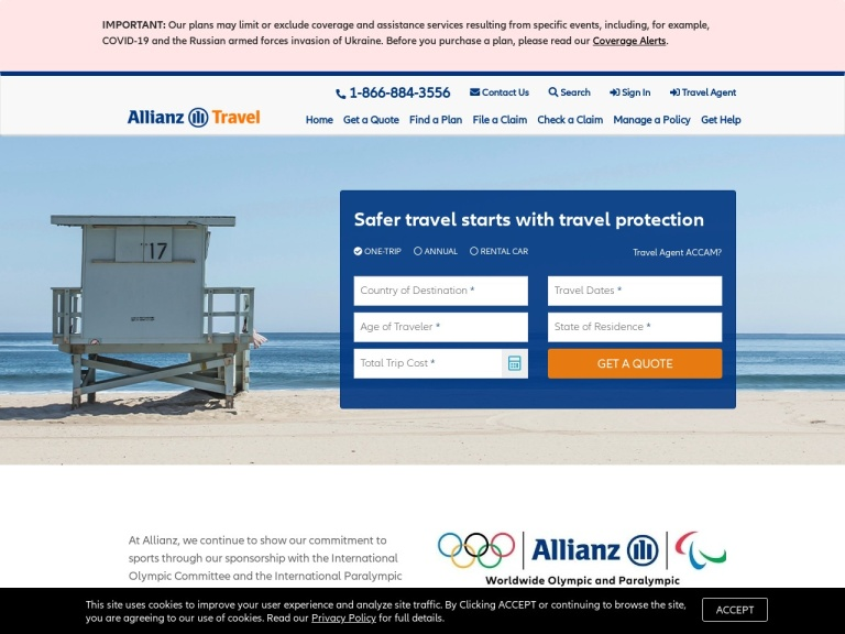 Allianz Travel Insurance screenshot