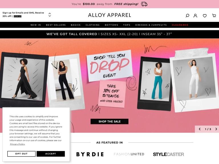 Alloy Apparel screenshot