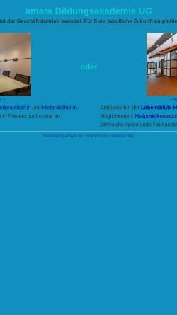 Vorschau der mobilen Webseite www.amara.de, Amara Bildungsakademie