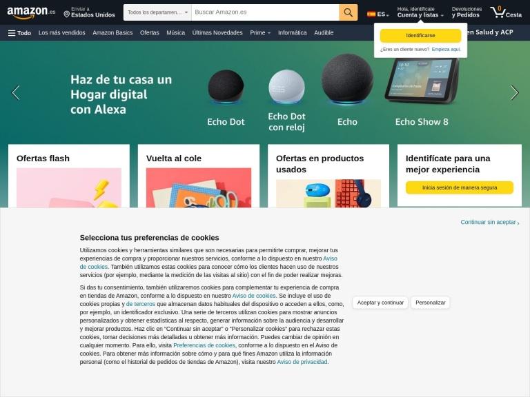 Captura de pantalla Amazon.es