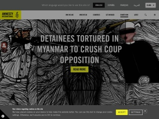 Screenshot der Website amnesty.org