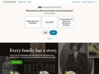 Capture d'écran pour ancestry.com
