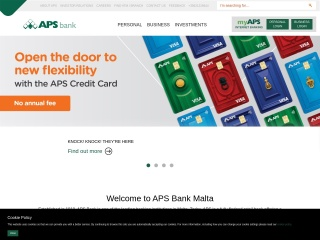 Screenshot for apsbank.com.mt
