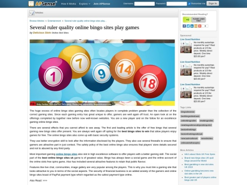 Several ruler quality online bingo sites play games