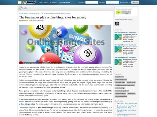 The fun games play online bingo sites for money
