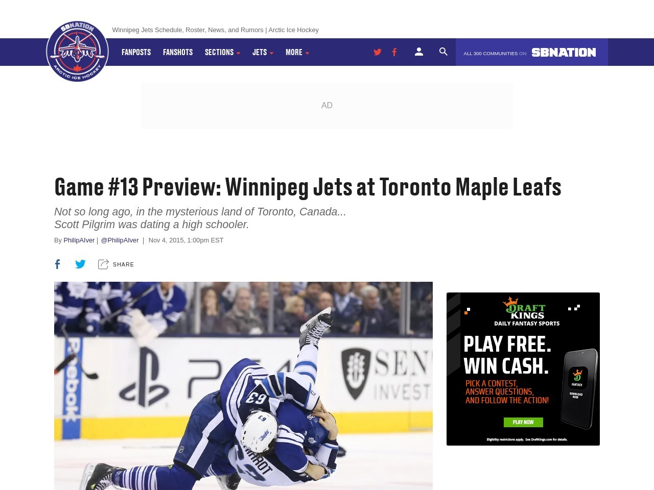 Game #13 Preview: Winnipeg Jets at Toronto Maple Leafs …