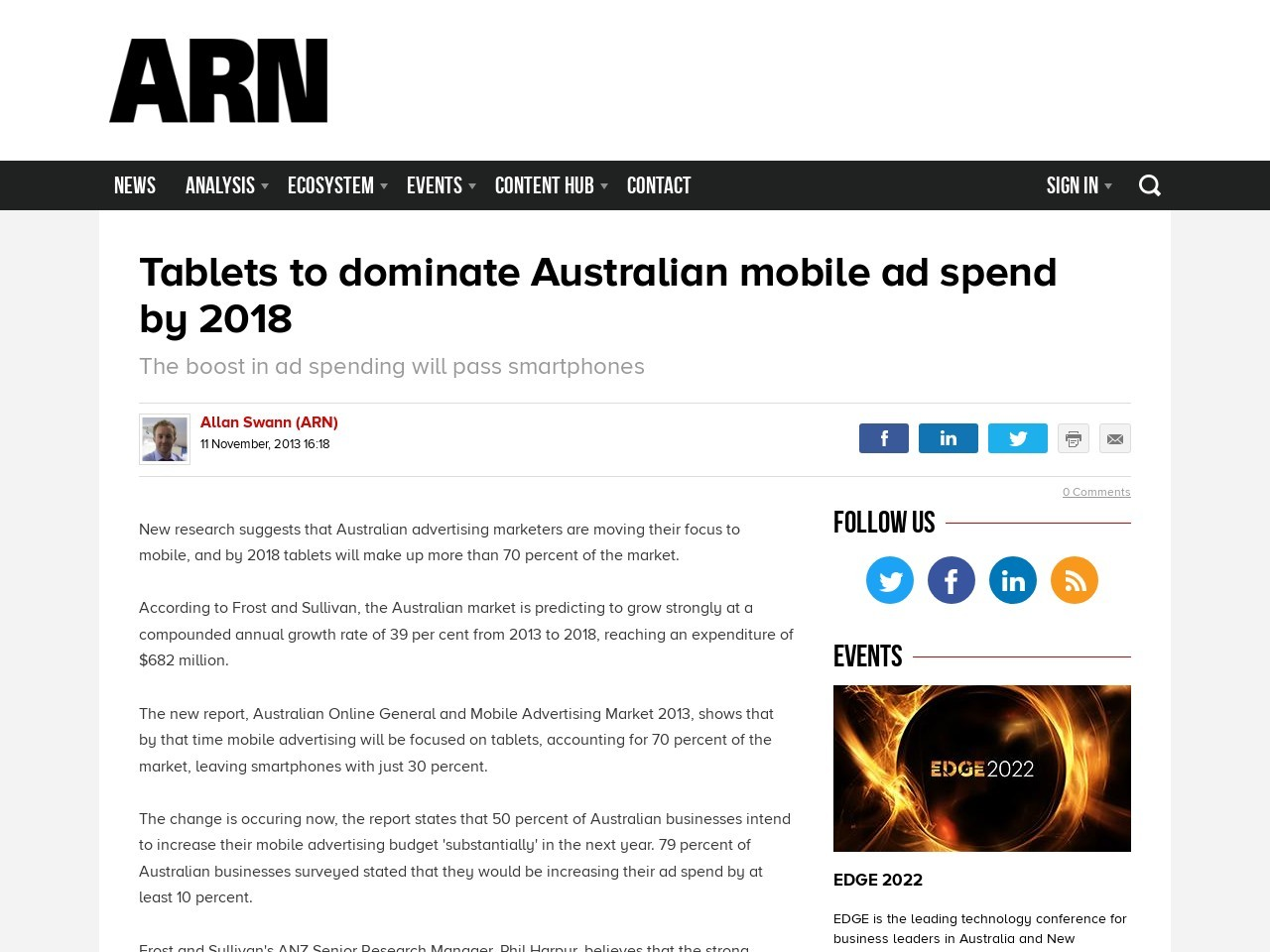 Tablets to dominate Australian mobile ad spend by 2018