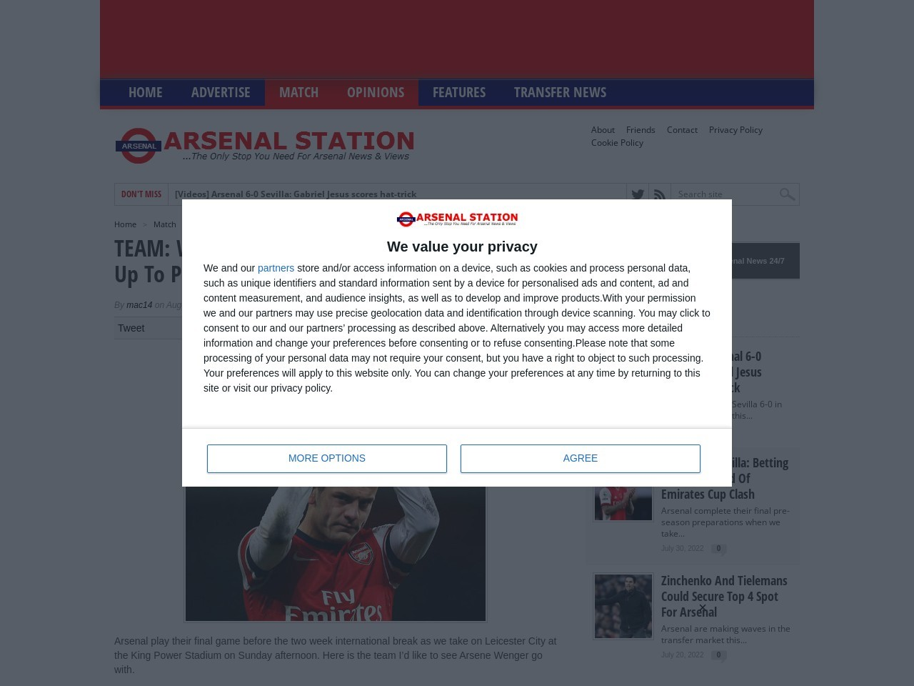 TEAM: Wilshere OUT: My Arsenal Starting Line-Up To Play …