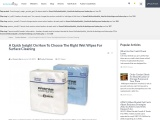 A Quick Insight On How To Choose The Right Wet Wipes For Surface Cleaning