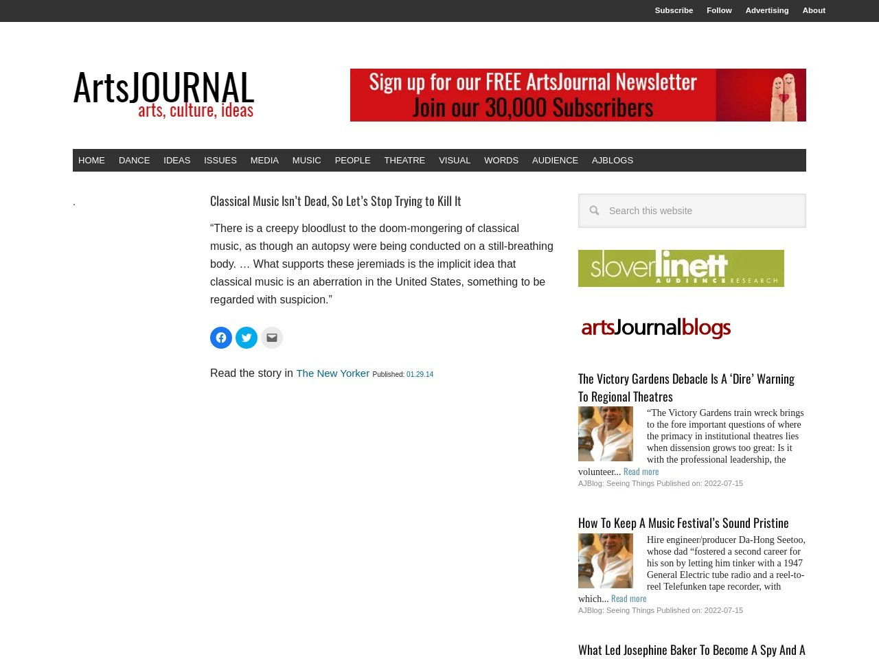 ArtsJournal – Classical Music Isn't Dead, So Let's Stop Trying to Kill It