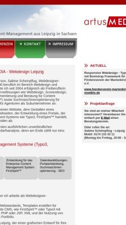 Vorschau der mobilen Webseite www.artusmedia.de, Artusmedia, Sabine Scheinpflug