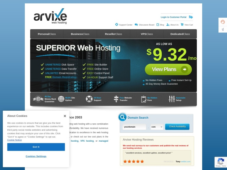 Arvixe Coupon Codes screenshot