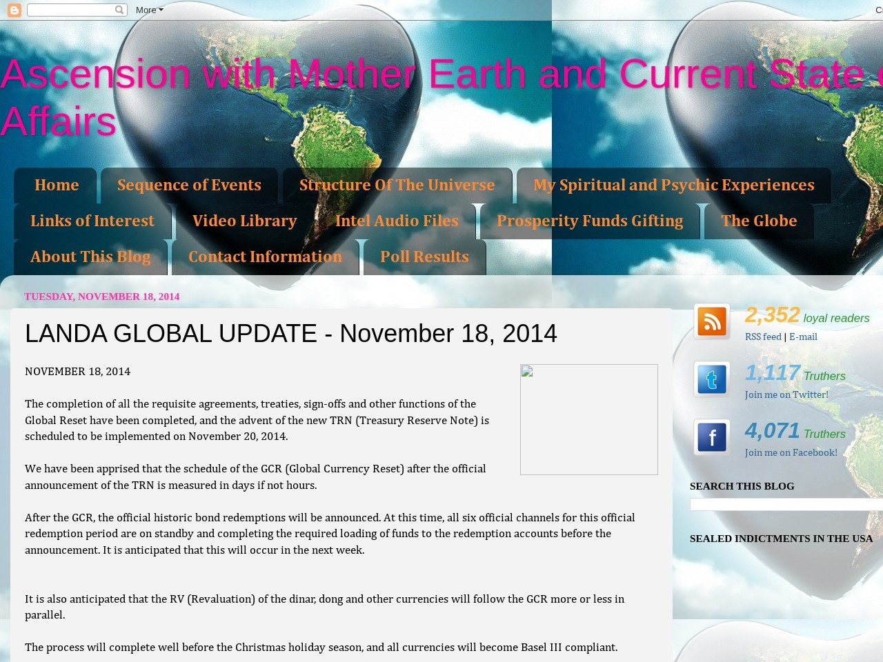 LANDA GLOBAL UPDATE – November 18, 2014