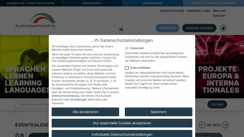 www.auslandsgesellschaft.de Vorschau, Auslandsgesellschaft Nordrhein-Westfalen e.V.