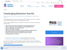 http://www.autismspeaks.org/family-services/tool-kits/challenging-behaviors-tool-kit