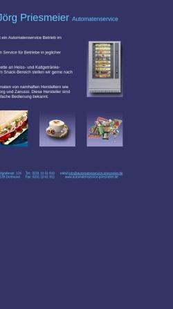 Vorschau der mobilen Webseite www.automatenservice-priesmeier.de, Priesmeier Automatenservice