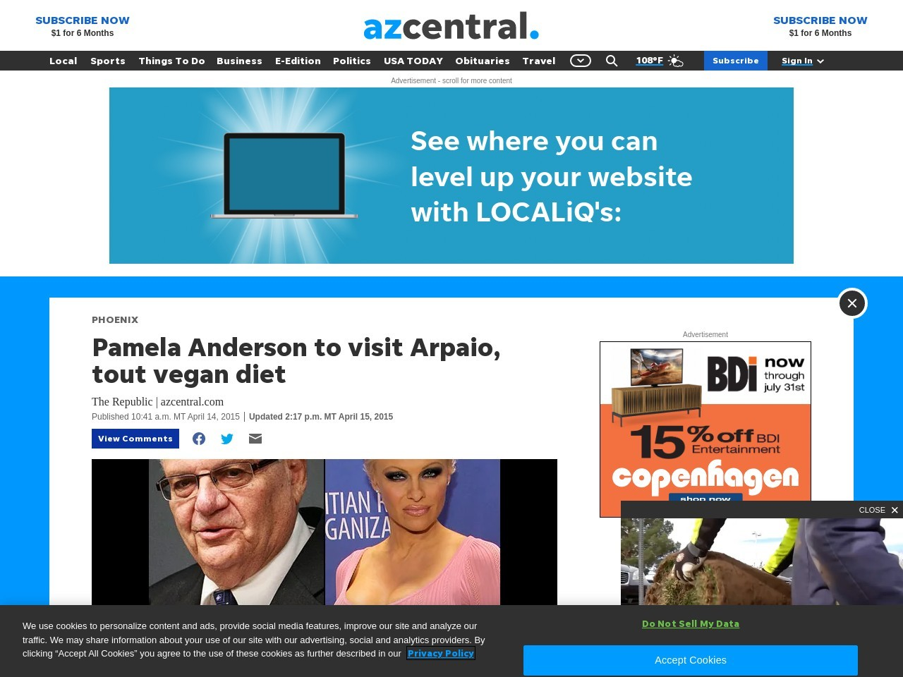 Pamela Anderson to visit Arpaio, tout vegan diet