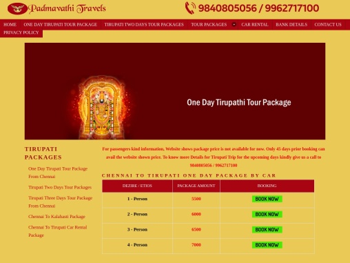 one day trip to tirupati from chennai by car