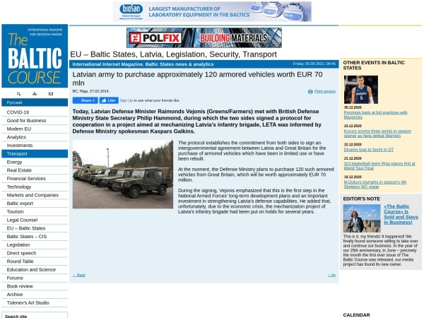 UK to Sell Armoured Vehicles to Latvia