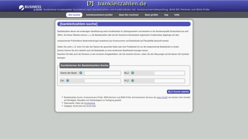 www.bankleitzahlen.de Vorschau, Bankleitzahlen.de - aiacs GmbH