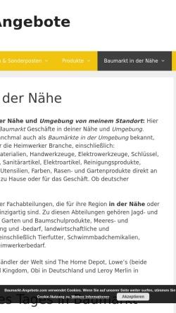 Vorschau der mobilen Webseite www.baumarkt-suche.de, Baumarkt Verzeichnis