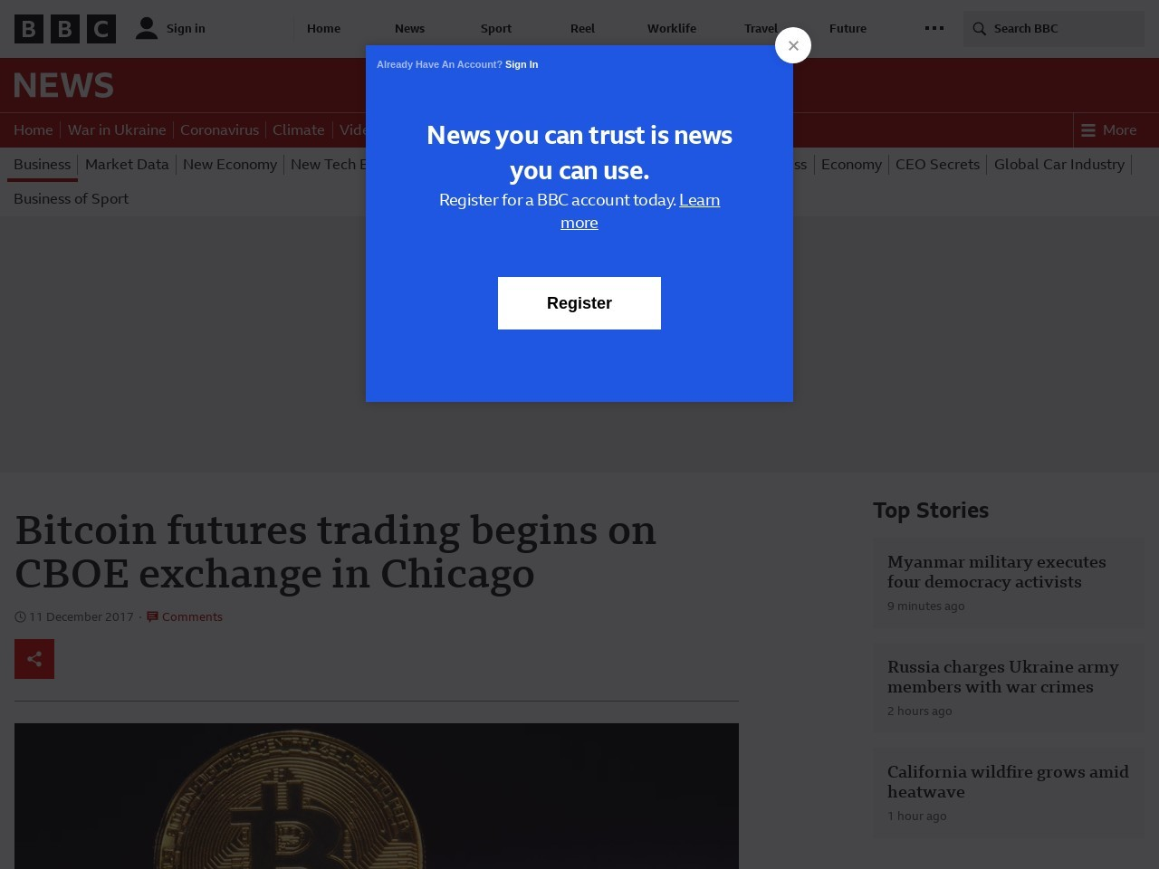 Bitcoin futures trading begins on Cboe exchange in Chicago