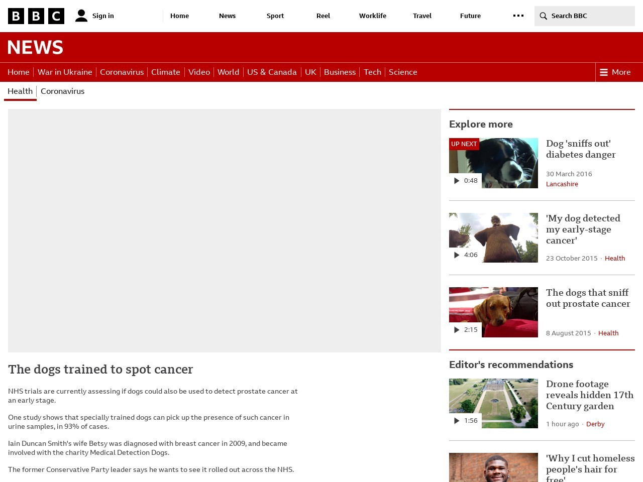 The dogs trained to spot cancer
