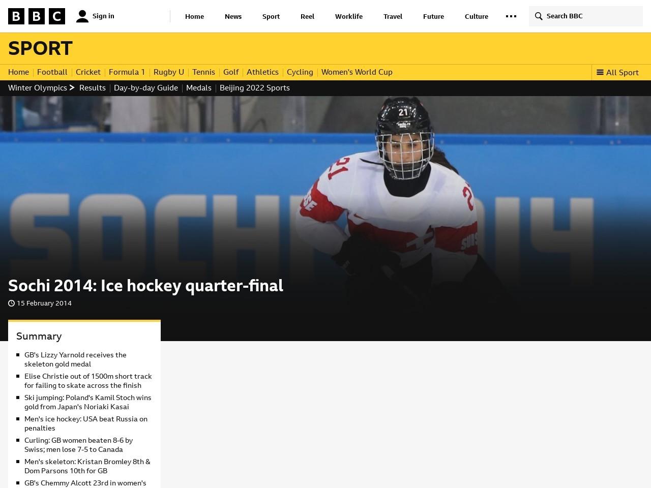 Sochi 2014: Ice hockey quarter-final
