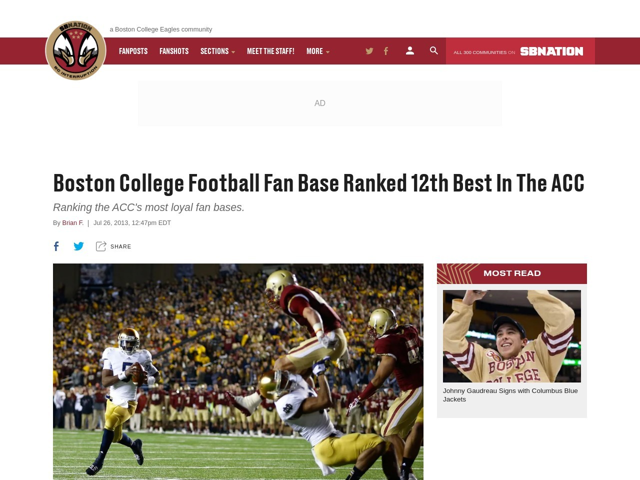 Boston College Football Fan Base Ranked 12th Best In The ACC
