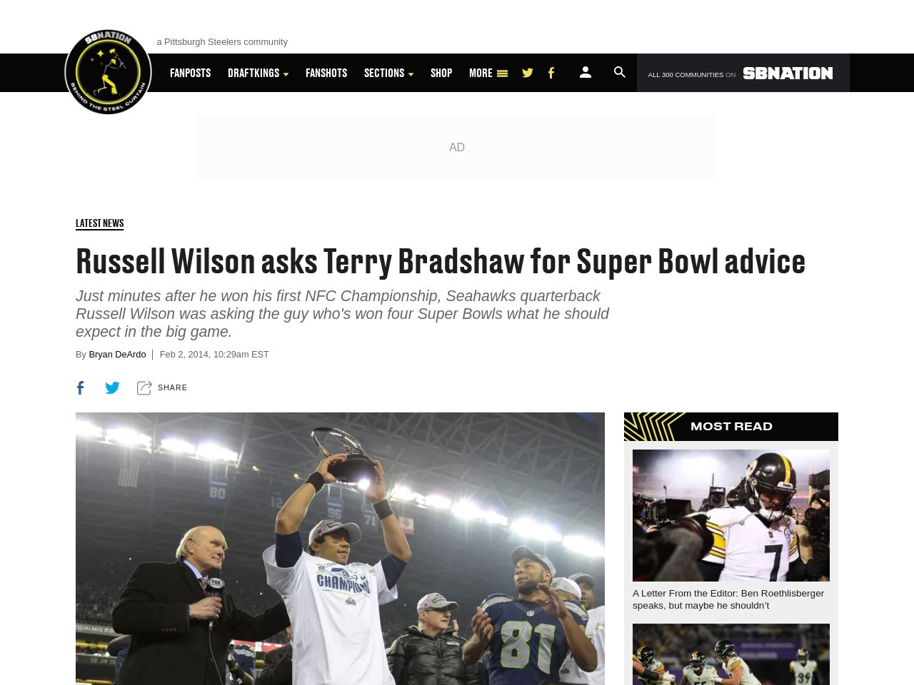 Russell Wilson asks Terry Bradshaw for Super Bowl advice – Behind …