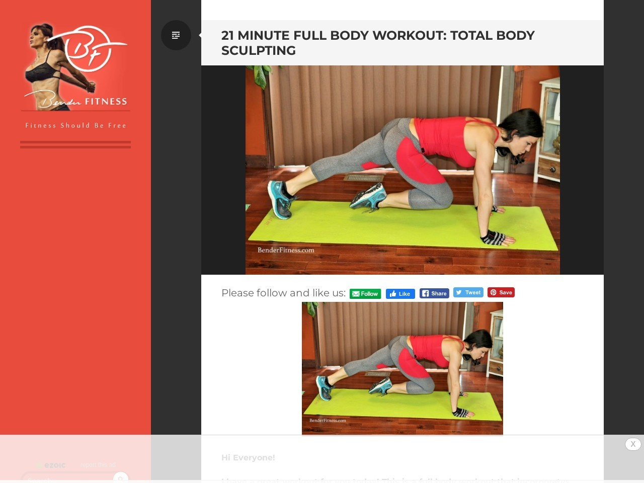 21 Minute Full Body Exercise: Total Body Sculpting