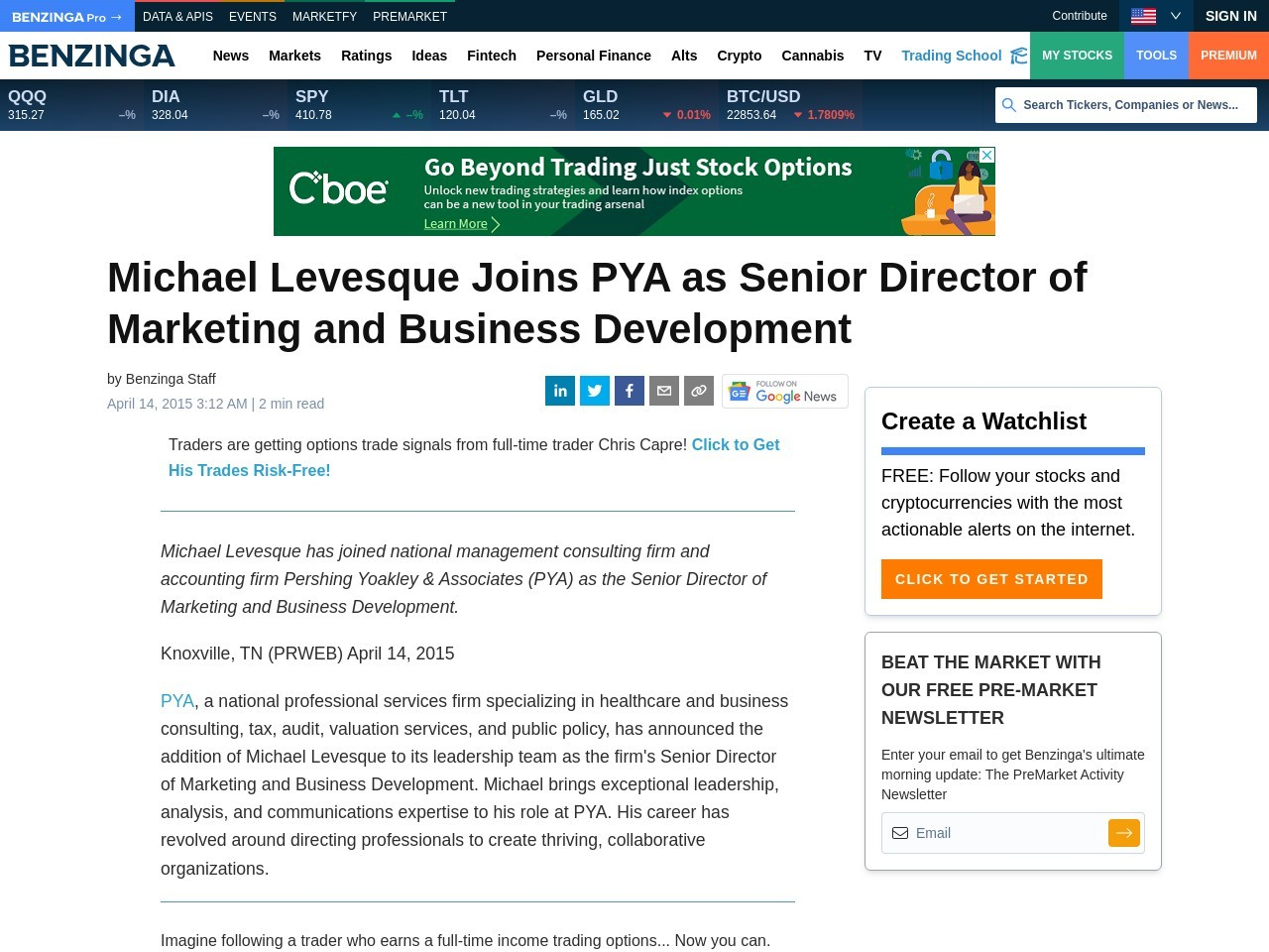 Michael Levesque Joins PYA as Senior Director of Marketing and Business …