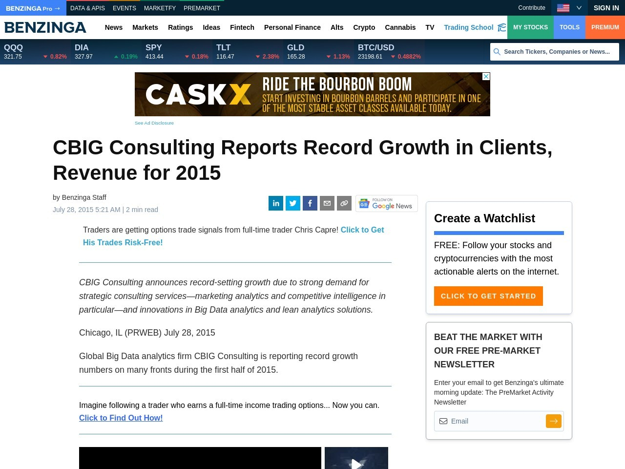 CBIG Consulting Reports Record Growth in Clients, Revenue for 2015