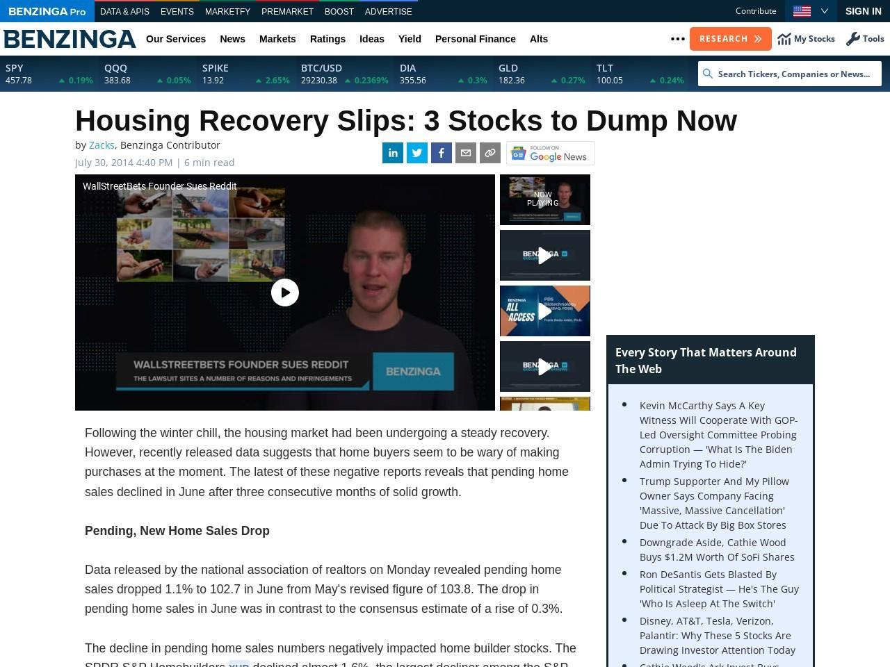 Housing Recovery Slips: 3 Stocks to Dump Now | Benzinga