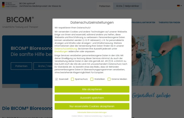 Vorschau von www.bicom-bioresonanz.de, Bicom Bioresonanz