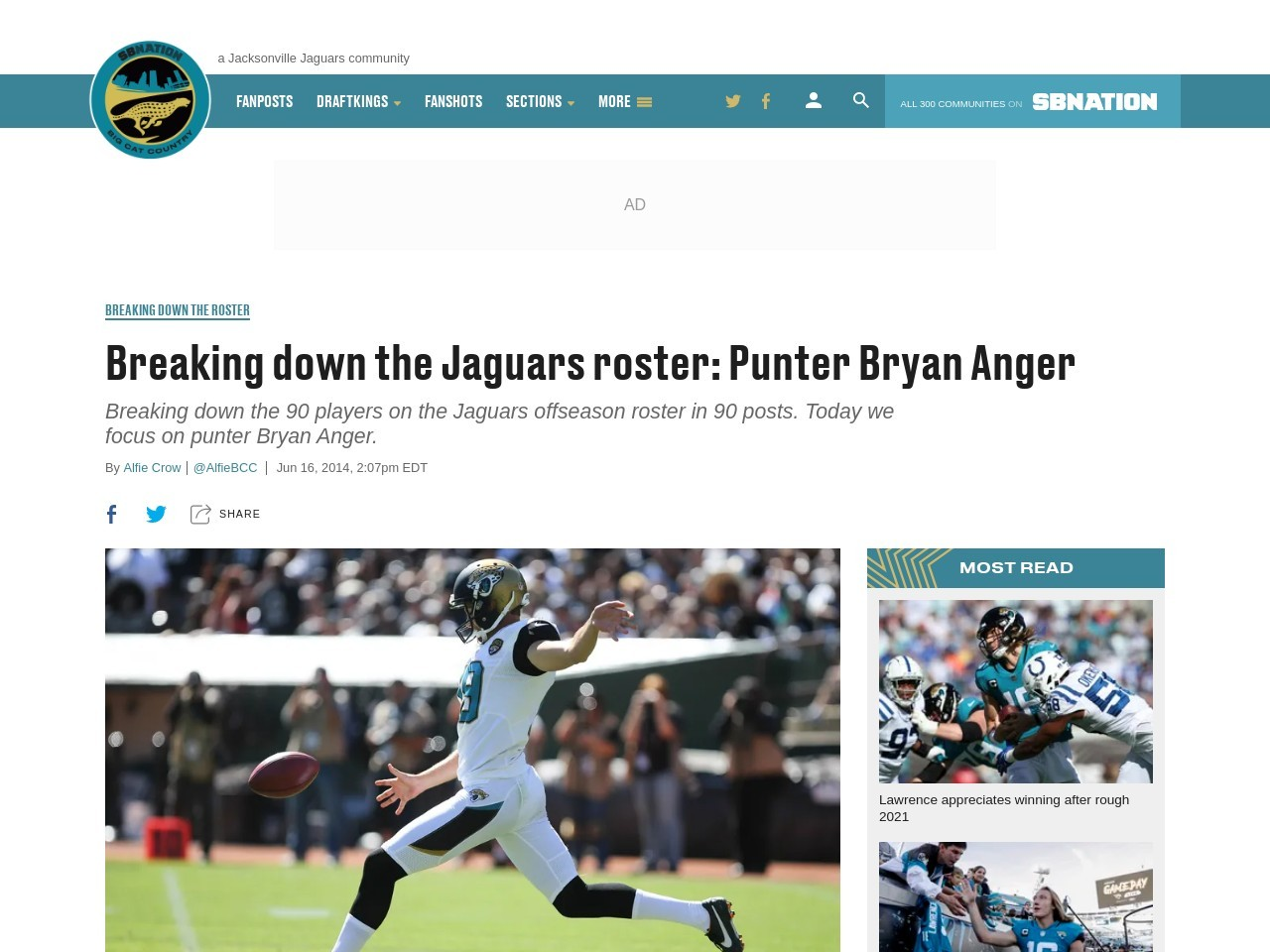 Breaking down the Jaguars roster: Punter Bryan Anger