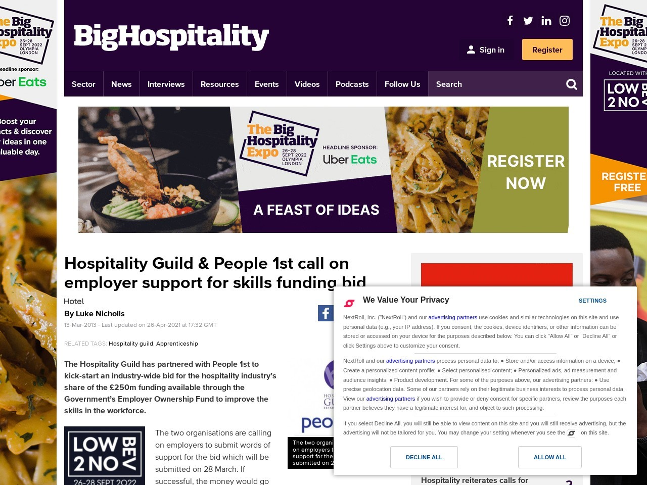 Hospitality Guild & People 1st – Employer Ownership Fund