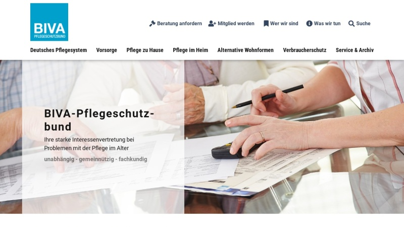 www.biva.de Vorschau, Bundesinteressenvertretung der Nutzerinnen und Nutzer von Wohn- und Betreuungsangeboten im Alter und bei Behinderung (BIVA) e.V.