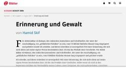 www.blaetter.de Vorschau, Erinnerung und Gewalt