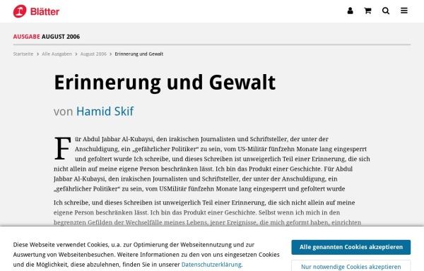 Vorschau von www.blaetter.de, Erinnerung und Gewalt