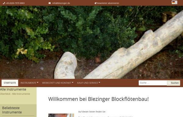 Vorschau von www.blezinger.de, Stephan Blezinger - Meisterwerkstätte für Flötenbau