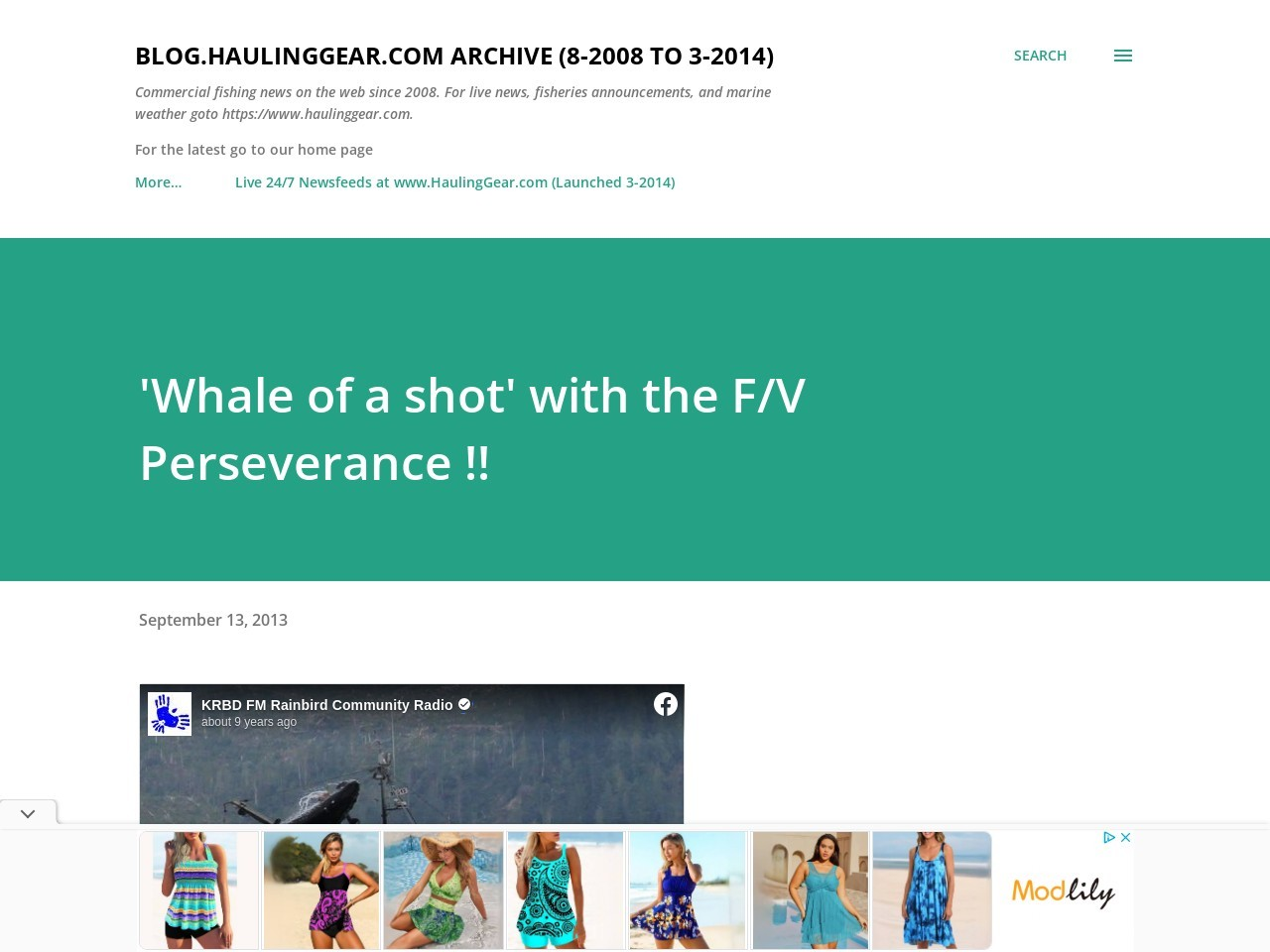 'Whale of a shot' with the F/V Perseverance !! | Hauling Gear …
