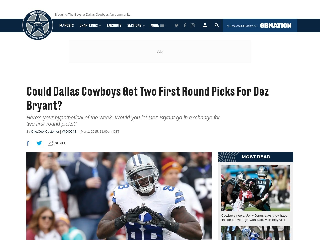 Could Dallas Cowboys Get Two First Round Picks For Dez …