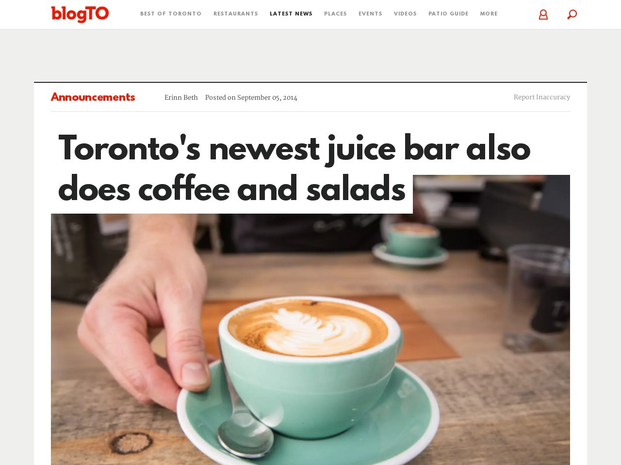Toronto's newest juice bar also does coffee and salads