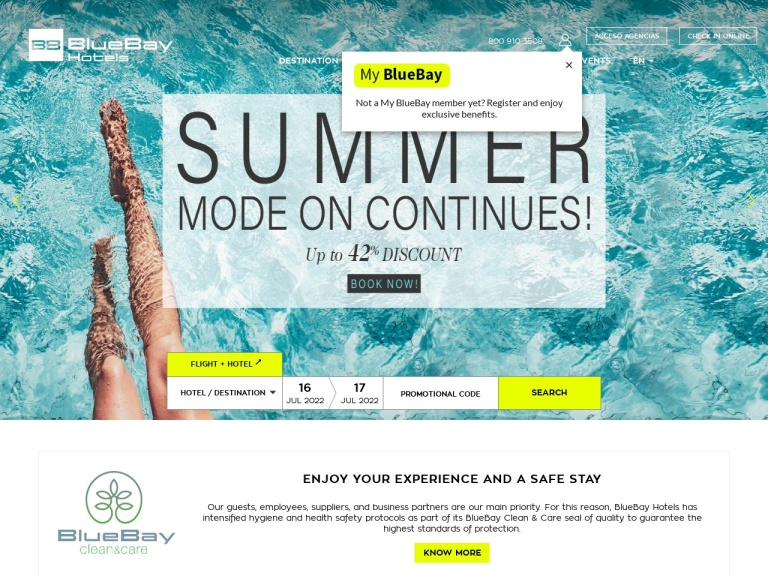 Bluebay Hotels Uk screenshot