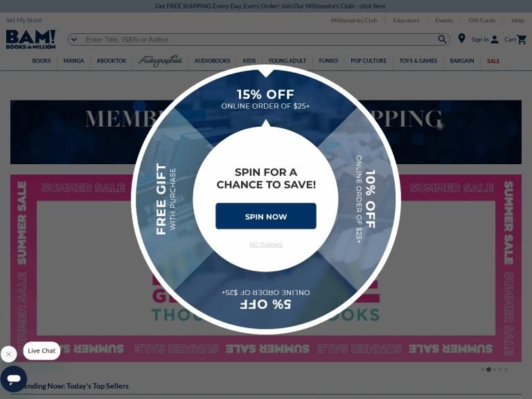 Booksamillion.com screenshot
