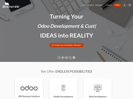 Odoo ERP Development and customization services providing company – Braincrew Apps