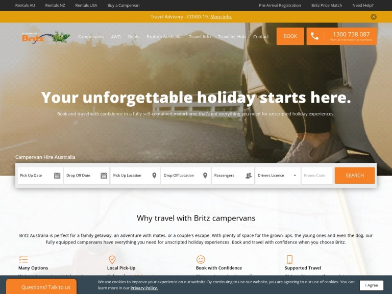 Britz Campervan Hire screenshot